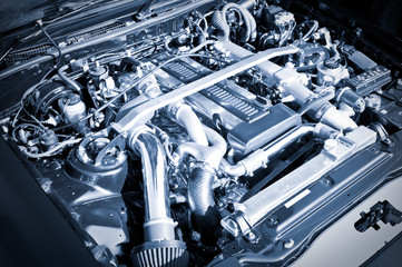 blue toned high performance auto engine
