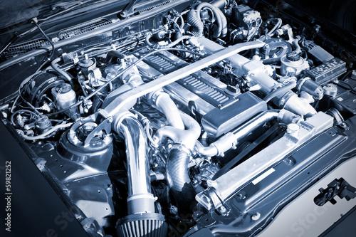 Papiers peints Vintage voitures blue toned high performance auto engine