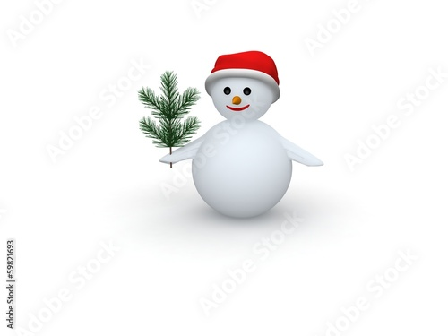 3D snowman with Santa Claus hat