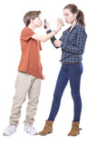 two teenager mutually kissing their mobile phones, isolated on w poster