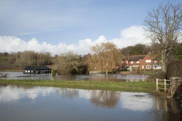 River Rother burst its banks Flooded cricket pavilion at Bodium