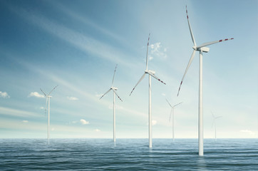 Wind turbines on the ocean