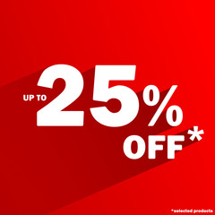 """UP TO 25% OFF*"" Marketing Icon (special offers price tag stamp)"