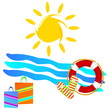 beach icon color vector illustration