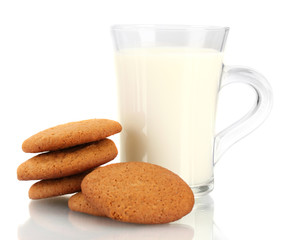 Ginger cookies and milk in glass isolated on white