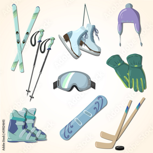 winter sports equipment icons collection