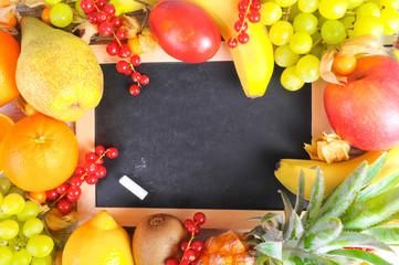 Hintergrund Tafel und Obst