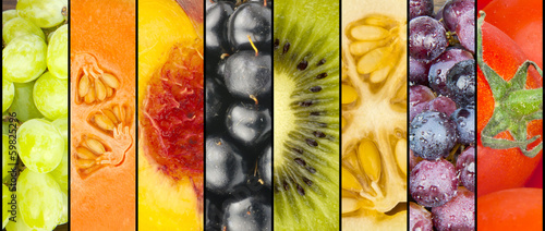 Collage of fruit in stripes