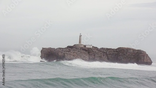 Mouro island storm high waves