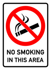 English Signs E289 - no smoking in this area