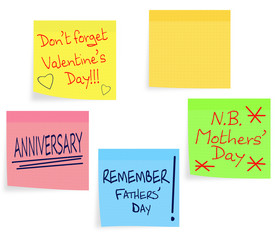 Reminder notes - Valentine, Mothers Day, Fathers Day etc