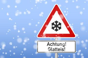 verkehrszeichen schneeflocke achtung! glatteis! I