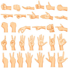 vector illustration of collection of hand gestures