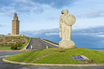 Statue of Breogan in A Coruna, Galicia, Spain.