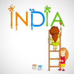 vector illustration of kids painting tricolor India