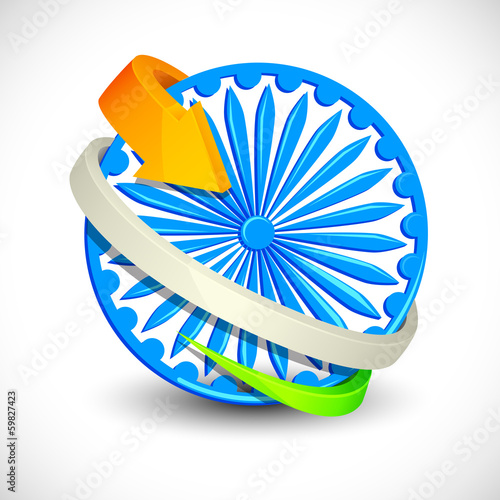 vector illustration of Tricolor Arrow around Ashoka Chakra