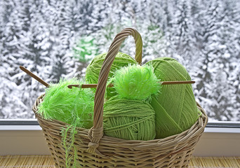Green skeins are in the basket