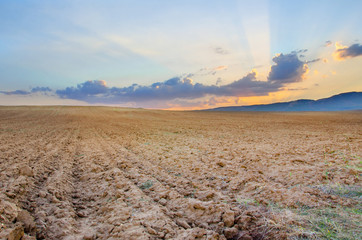 autumn field on the sunset, ready ground soil for seeding