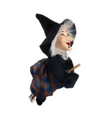 Befana, witch with flying broom