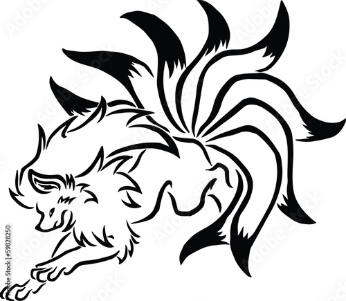 Vector image of an fox jumping on white background