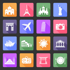 Travel and landmarks vector flat icons set