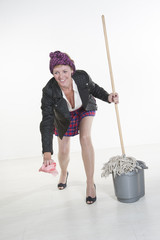 Cleaner lady with bucket and mop
