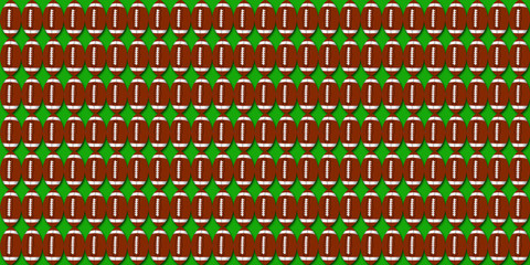 Football pigskin pattern illustration with green background