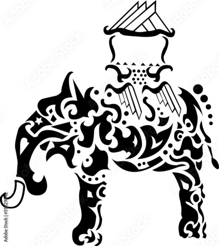 exotic ornated thaailand elephant outline