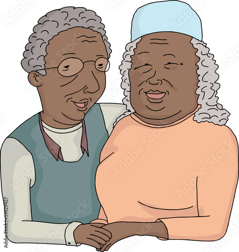 Smiling Elderly Couple Cartoon