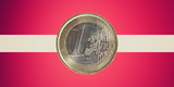 Flag of Latvia with Euro coin