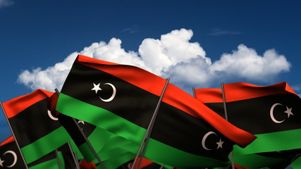 Waving Libyan Flags