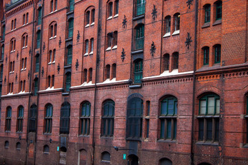 Detail of an old warehouse in Speicherstadt  in Hamburg, Germany