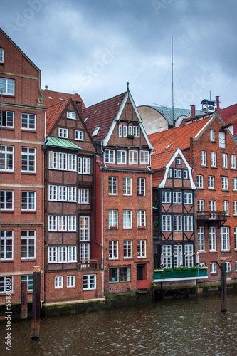 Traditional buildings along canal in Hamburg, Germany