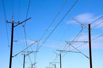 Overhead Power Lines Providing Power To Electric Trains