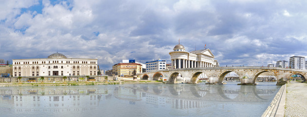 Old stone bridge and archaeological museum of Macedonia