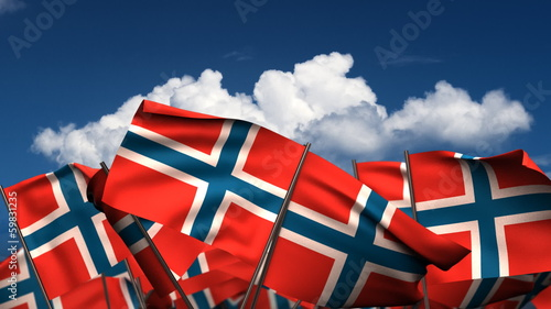 Waving Norwegian Flags
