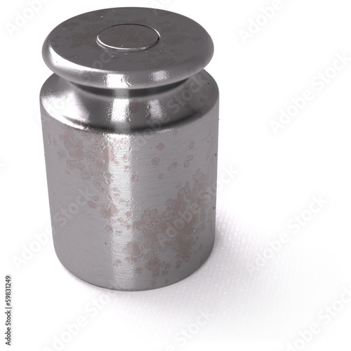 Small calibration weight on white background