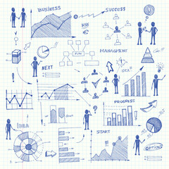 Doodle business charts infographics elements