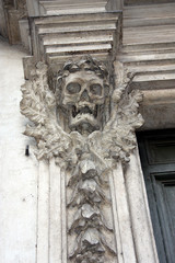 Rome, Skull Sculpture at Santa Maria dell'Orazione e Morte
