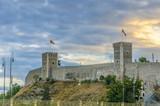 Stone fence on citadel, watchtower, Skopje, Macedonia poster