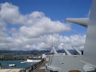 Large Metal Guns and deck on the Historic Battleship the USS Mis