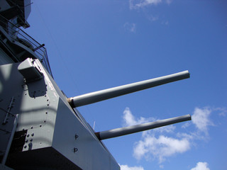 Large Dual Metal Guns on the Historic USS Missouri