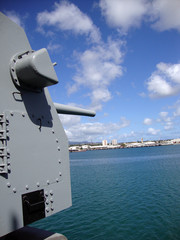 Large Metal Guns on the Historic USS Missouri