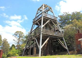 Old wooden Australian coal mining derrick structure