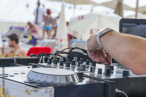 Beach Dj close-up. Summer beach club
