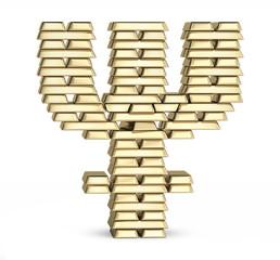 Bitcoin symbol from gold bars