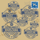 Fototapety Grunge rubber stamp set with names of Poland cities