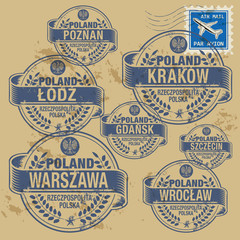 Grunge rubber stamp set with names of Poland cities