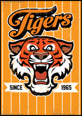 retro tiger mascot design