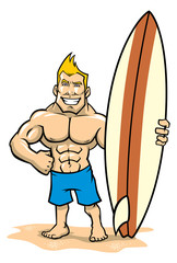 smiling muscle surfer posing with surfboard